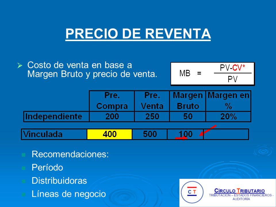 PRECIO DE REVENTA Costo de venta en base a Margen Bruto y precio de venta.
