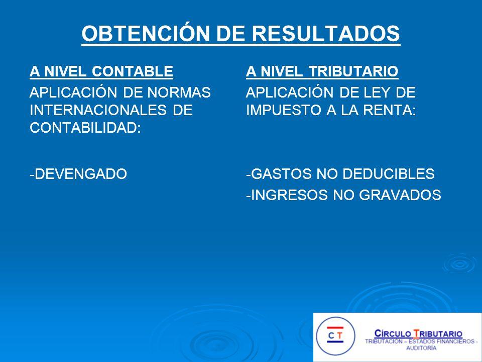 OBTENCIÓN DE RESULTADOS A NIVEL CONTABLE APLICACIÓN DE NORMAS INTERNACIONALES DE CONTABILIDAD: -DEVENGADO A NIVEL TRIBUTARIO APLICACIÓN DE LEY DE IMPUESTO A LA RENTA: -GASTOS NO DEDUCIBLES -INGRESOS NO GRAVADOS