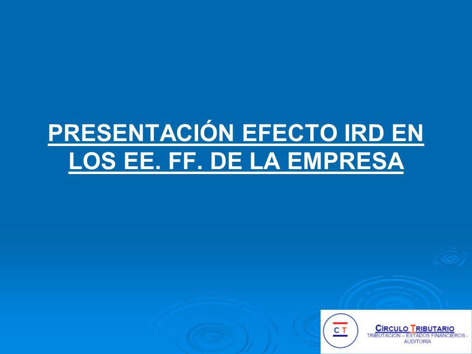 PRESENTACIÓN EFECTO IRD EN LOS EE. FF. DE LA EMPRESA