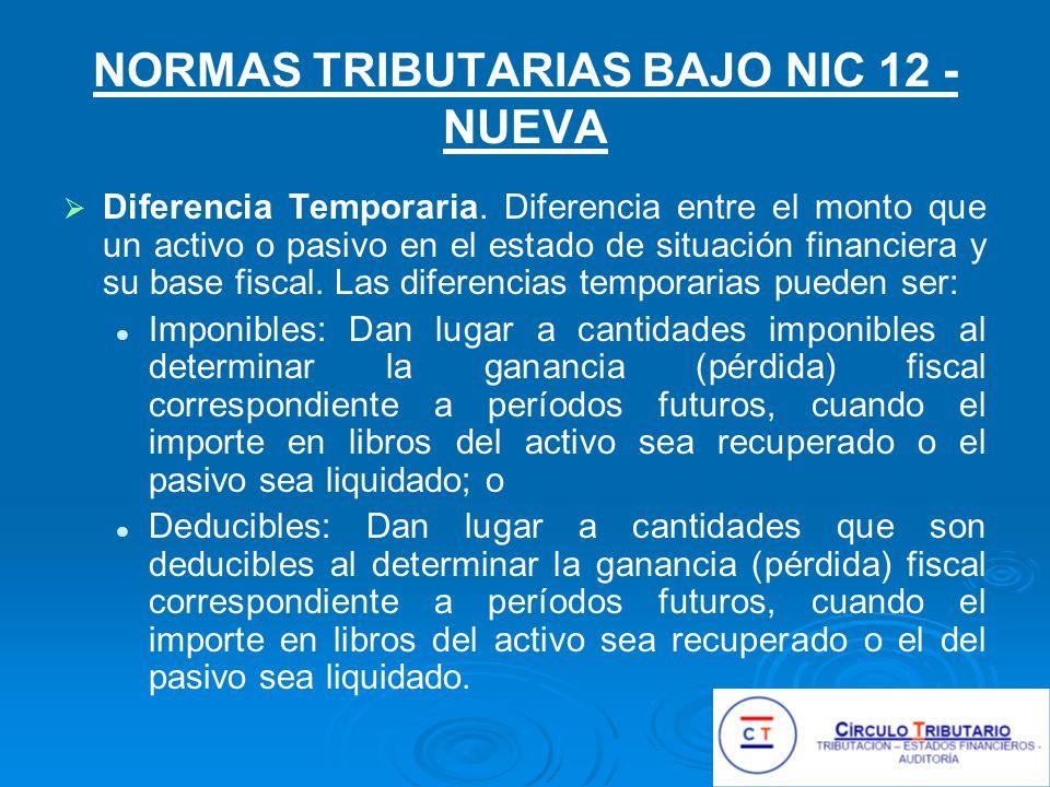 NORMAS TRIBUTARIAS BAJO NIC 12 - NUEVA Diferencia Temporaria.