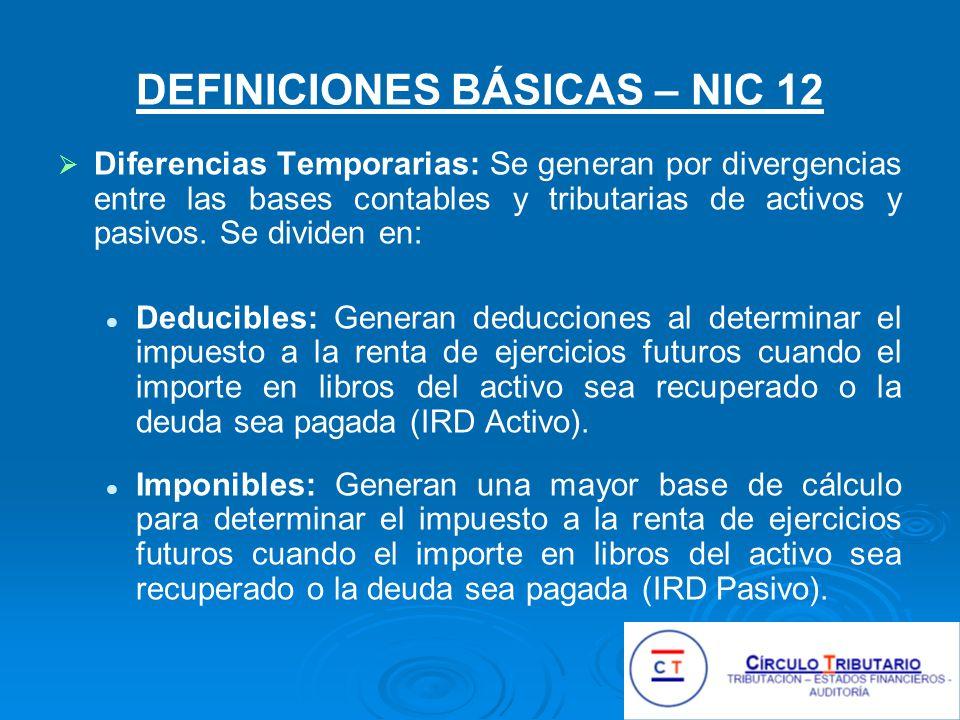DEFINICIONES BÁSICAS – NIC 12 Diferencias Temporarias: Se generan por divergencias entre las bases contables y tributarias de activos y pasivos.