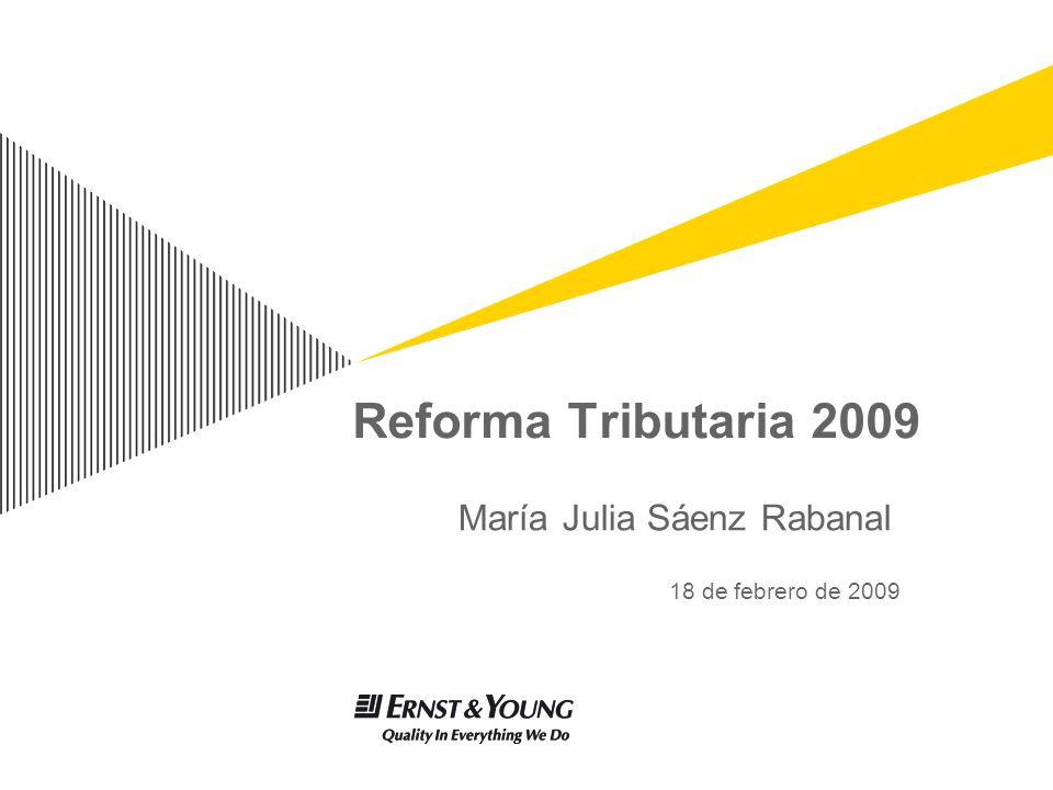 Reforma Tributaria 2009 María Julia Sáenz Rabanal 18 de febrero de 2009