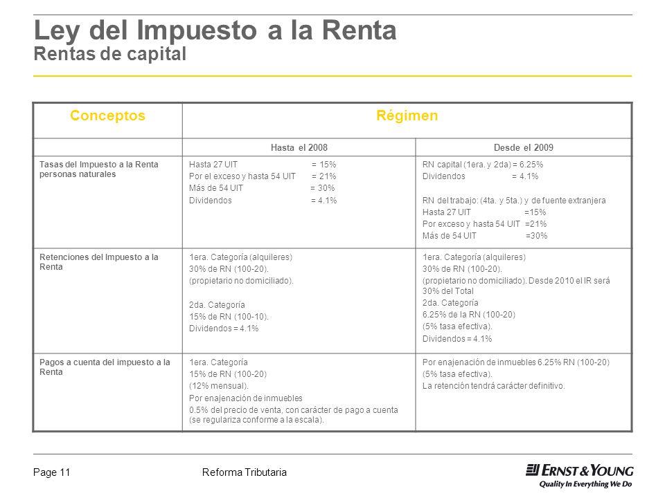 Reforma TributariaPage 11 Ley del Impuesto a la Renta Rentas de capital ConceptosRégimen Hasta el 2008Desde el 2009 Tasas del Impuesto a la Renta pers