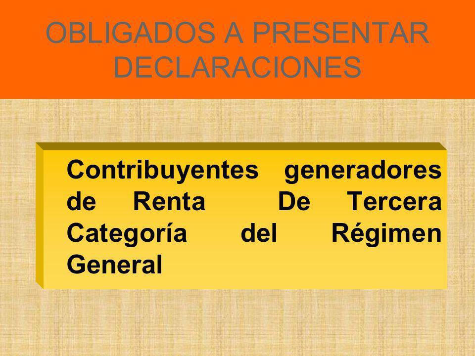 DECLARACION JURADA DEL IMPUESTO A LA RENTA TERCERA CATEGORIA EJERCICIO 2009