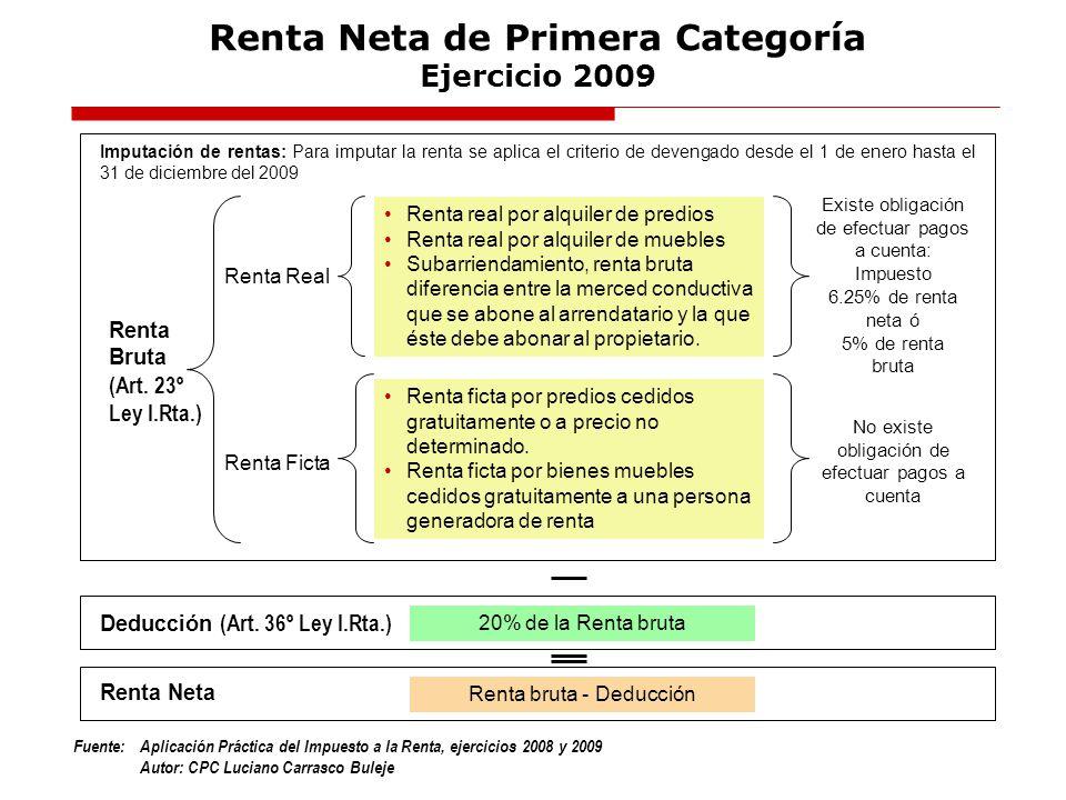 Fuente:Aplicación Práctica del Impuesto a la Renta, ejercicios 2008 y 2009 Autor: CPC Luciano Carrasco Buleje Renta Neta de Primera Categoría Ejercici