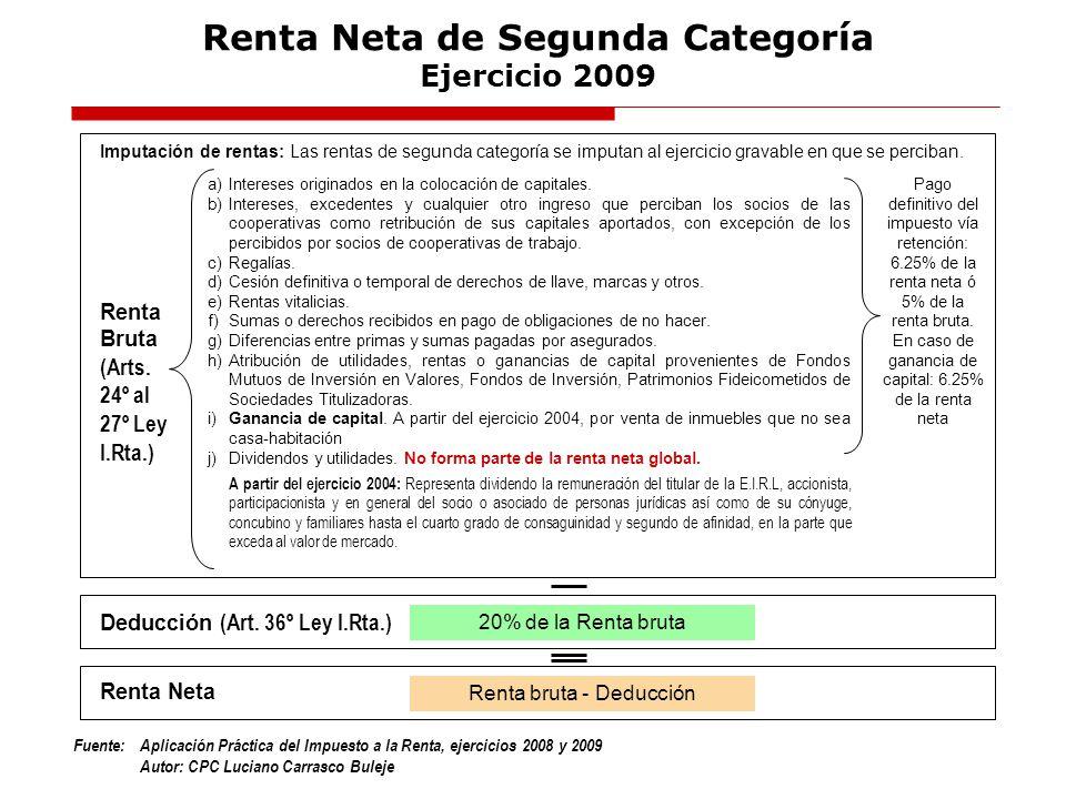 Fuente:Aplicación Práctica del Impuesto a la Renta, ejercicios 2008 y 2009 Autor: CPC Luciano Carrasco Buleje Renta Neta de Segunda Categoría Ejercici