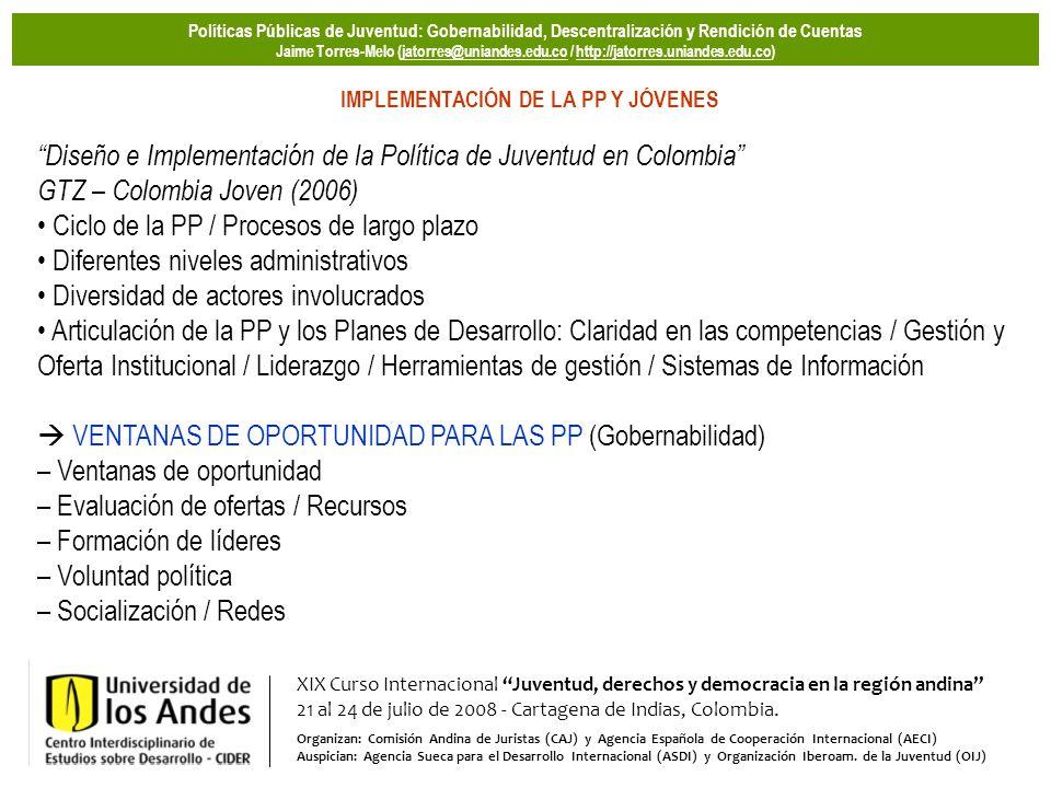 XIX Curso Internacional Juventud, derechos y democracia en la región andina 21 al 24 de julio de 2008 - Cartagena de Indias, Colombia. Organizan: Comi