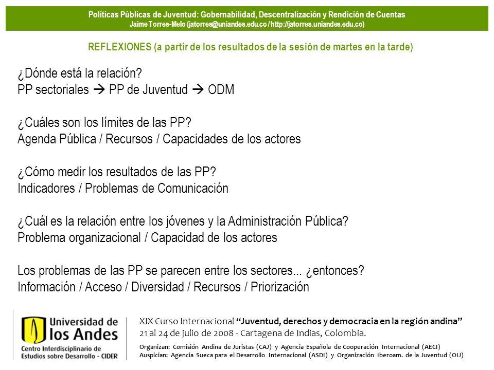 XIX Curso Internacional Juventud, derechos y democracia en la región andina 21 al 24 de julio de 2008 - Cartagena de Indias, Colombia.