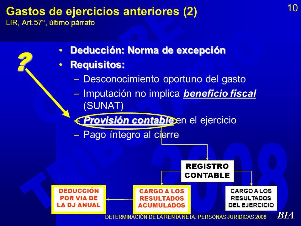 10 Gastos de ejercicios anteriores (2) LIR, Art.57°, último párrafo Deducción: Norma de excepción Requisitos: –D–Desconocimiento oportuno del gasto –I