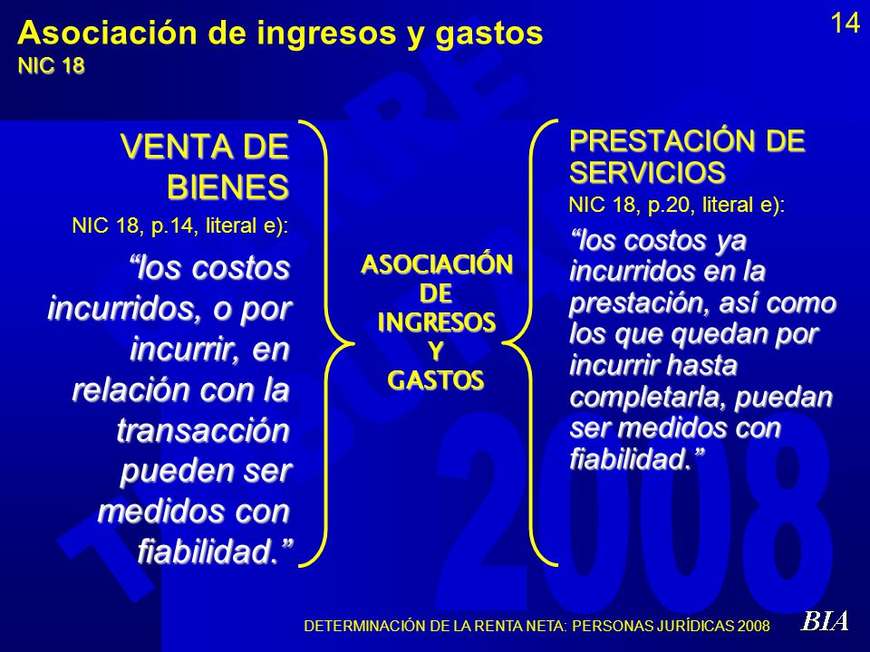 DETERMINACIÓN DE LA RENTA NETA: PERSONAS JURÍDICAS 2008 14 Asociación de ingresos y gastos NIC 18 VENTA DE BIENES NIC 18, p.14, literal e): los costos
