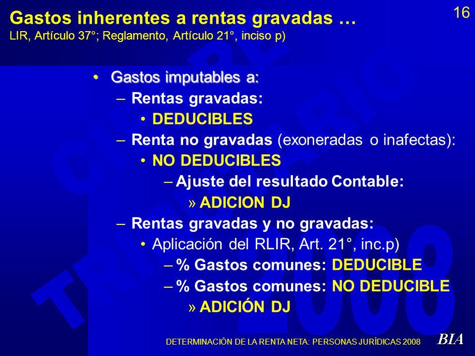 DETERMINACIÓN DE LA RENTA NETA: PERSONAS JURÍDICAS 2008 16 Gastos inherentes a rentas gravadas … LIR, Artículo 37°; Reglamento, Artículo 21°, inciso p