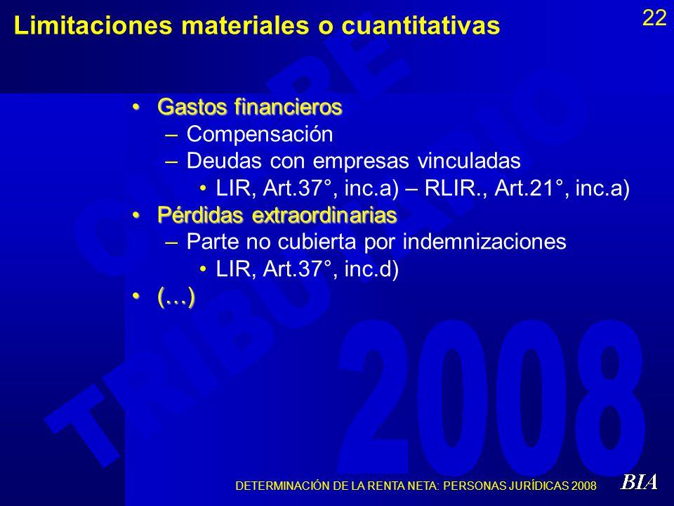 DETERMINACIÓN DE LA RENTA NETA: PERSONAS JURÍDICAS 2008 22 Limitaciones materiales o cuantitativas Gastos financierosGastos financieros –Compensación