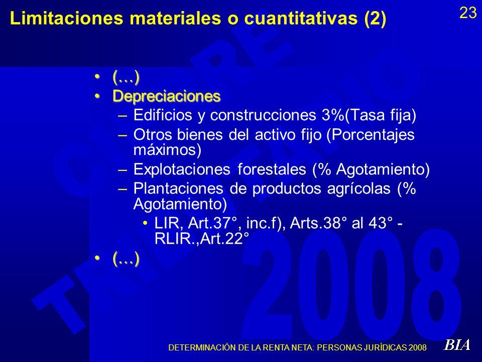 DETERMINACIÓN DE LA RENTA NETA: PERSONAS JURÍDICAS 2008 23 Limitaciones materiales o cuantitativas (2) (…)(…) DepreciacionesDepreciaciones –Edificios