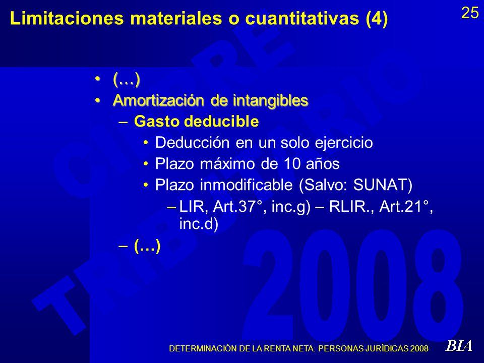 DETERMINACIÓN DE LA RENTA NETA: PERSONAS JURÍDICAS 2008 25 Limitaciones materiales o cuantitativas (4) (…)(…) Amortización de intangiblesAmortización