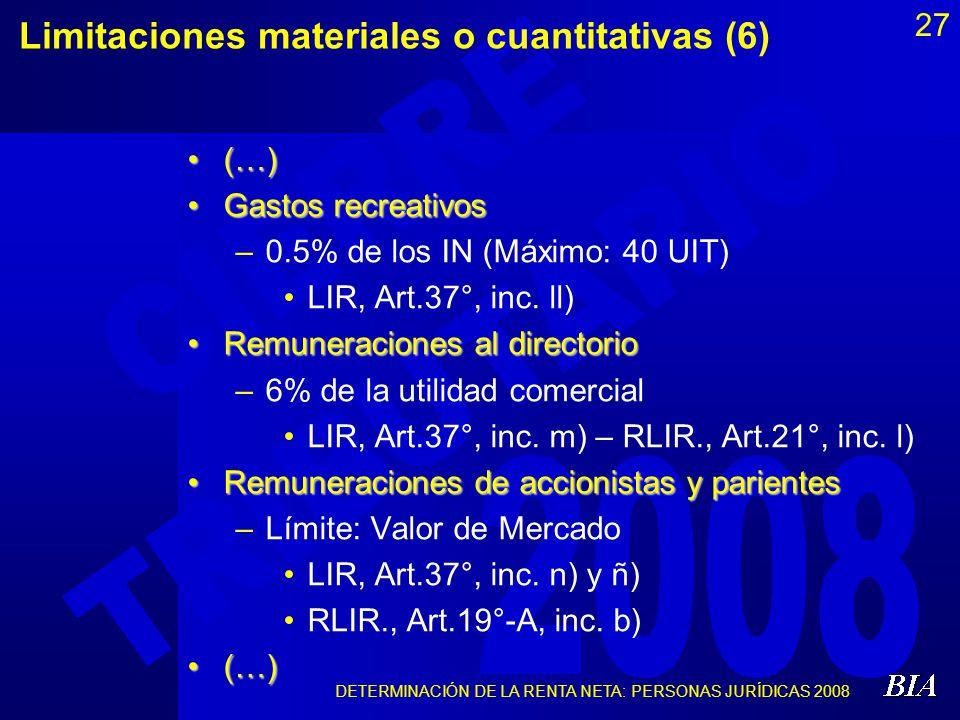 DETERMINACIÓN DE LA RENTA NETA: PERSONAS JURÍDICAS 2008 27 Limitaciones materiales o cuantitativas (6) (…)(…) Gastos recreativosGastos recreativos –0.