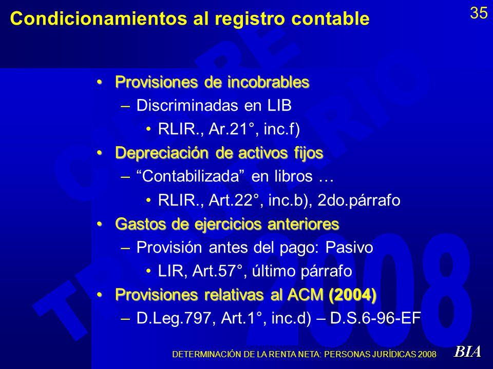 DETERMINACIÓN DE LA RENTA NETA: PERSONAS JURÍDICAS 2008 35 Condicionamientos al registro contable Provisiones de incobrablesProvisiones de incobrables