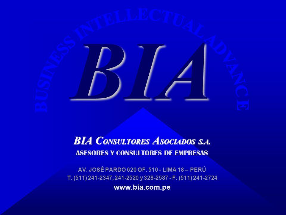 BIA C ONSULTORES A SOCIADOS S.A. ASESORES Y CONSULTORES DE EMPRESAS AV. JOSÉ PARDO 620 OF. 510 - LIMA 18 – PERÚ T. (511) 241-2347, 241-2520 y 328-2587