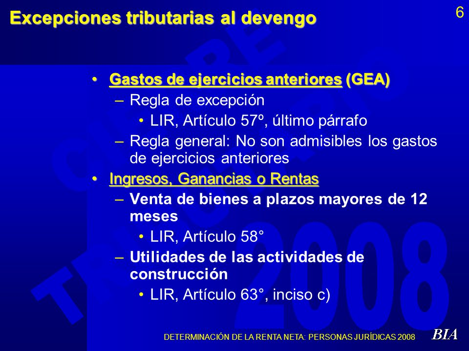 DETERMINACIÓN DE LA RENTA NETA: PERSONAS JURÍDICAS 2008 27 Limitaciones materiales o cuantitativas (6) (…)(…) Gastos recreativosGastos recreativos –0.5% de los IN (Máximo: 40 UIT) LIR, Art.37°, inc.