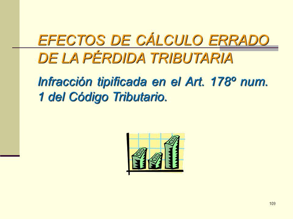 EFECTOS DE CÁLCULO ERRADO DE LA PÉRDIDA TRIBUTARIA Infracción tipificada en el Art. 178º num. 1 del Código Tributario. 109