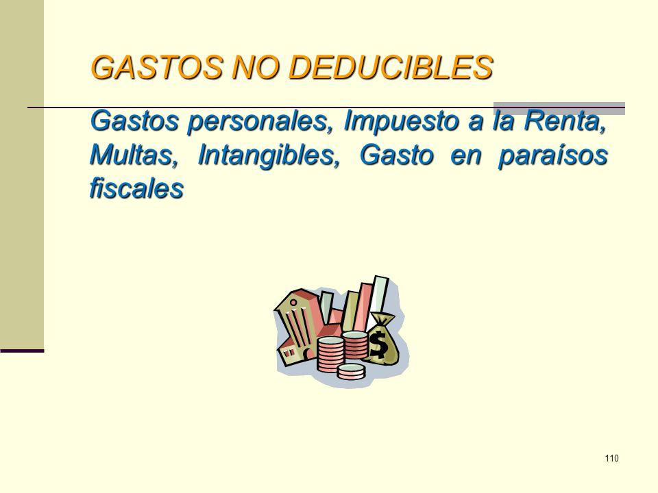 GASTOS NO DEDUCIBLES Gastos personales, Impuesto a la Renta, Multas, Intangibles, Gasto en paraísos fiscales 110