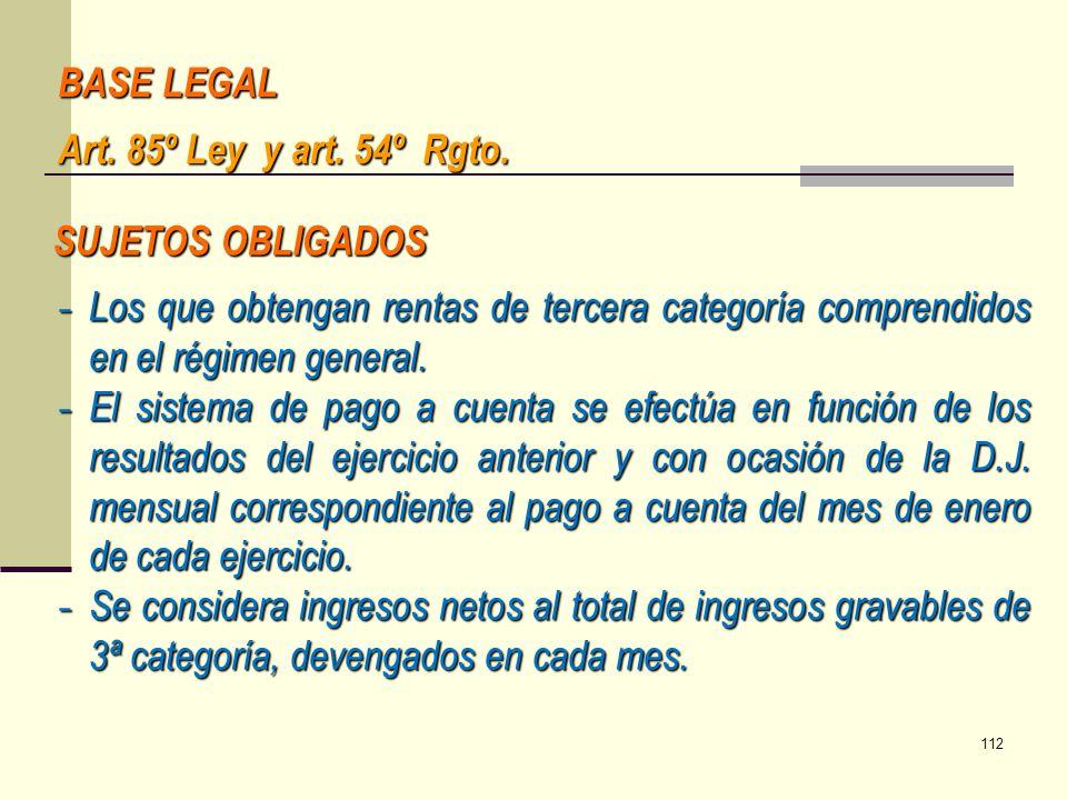 BASE LEGAL Art. 85º Ley y art. 54º Rgto. SUJETOS OBLIGADOS - Los que obtengan rentas de tercera categoría comprendidos en el régimen general. - El sis