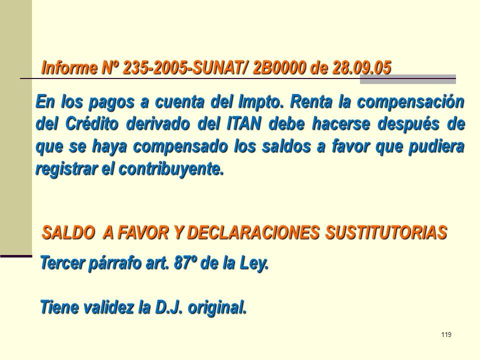 Informe Nº 235-2005-SUNAT/ 2B0000 de 28.09.05 En los pagos a cuenta del Impto. Renta la compensación del Crédito derivado del ITAN debe hacerse despué