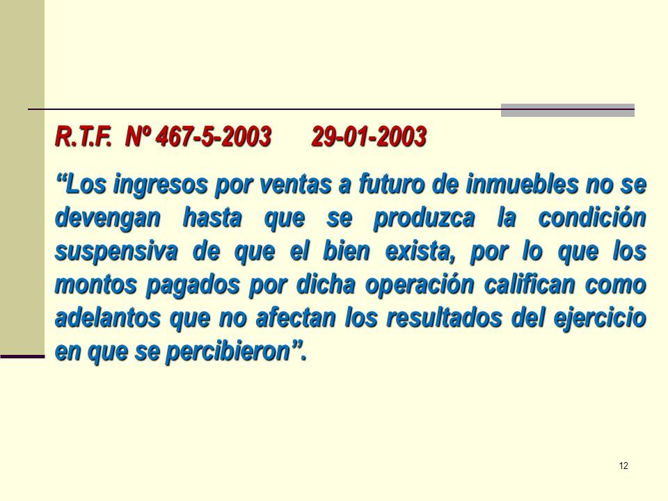 R.T.F. Nº 467-5-2003 29-01-2003 Los ingresos por ventas a futuro de inmuebles no se devengan hasta que se produzca la condición suspensiva de que el b