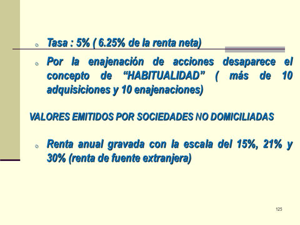 o Tasa : 5% ( 6.25% de la renta neta) o Por la enajenación de acciones desaparece el concepto de HABITUALIDAD ( más de 10 adquisiciones y 10 enajenaci