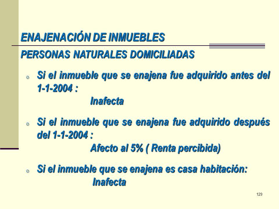 ENAJENACIÓN DE INMUEBLES PERSONAS NATURALES DOMICILIADAS o Si el inmueble que se enajena fue adquirido antes del 1-1-2004 : Inafecta o Si el inmueble