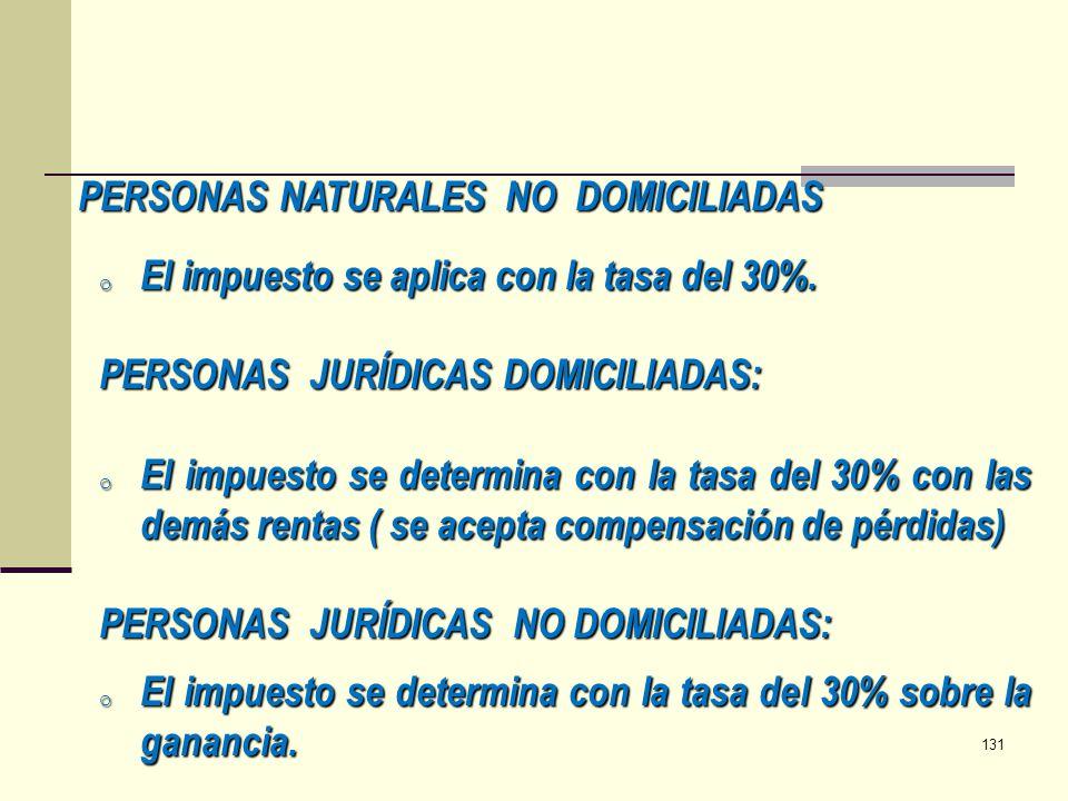 PERSONAS NATURALES NO DOMICILIADAS o El impuesto se aplica con la tasa del 30%. PERSONAS JURÍDICAS DOMICILIADAS: o El impuesto se determina con la tas