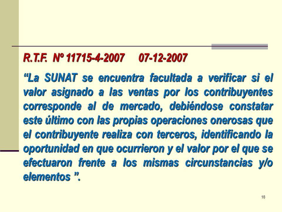 R.T.F. Nº 11715-4-2007 07-12-2007 La SUNAT se encuentra facultada a verificar si el valor asignado a las ventas por los contribuyentes corresponde al