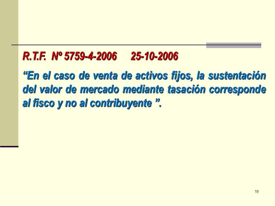 R.T.F. Nº 5759-4-2006 25-10-2006 En el caso de venta de activos fijos, la sustentación del valor de mercado mediante tasación corresponde al fisco y n