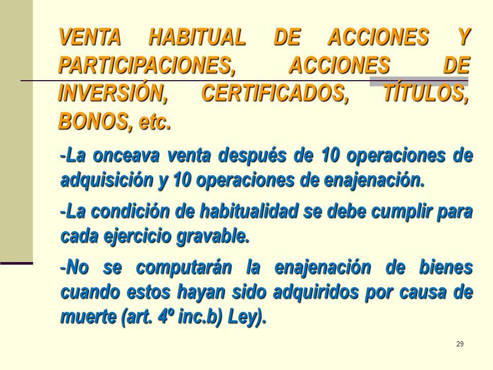 VENTA HABITUAL DE ACCIONES Y PARTICIPACIONES, ACCIONES DE INVERSIÓN, CERTIFICADOS, TÍTULOS, BONOS, etc. - La onceava venta después de 10 operaciones d