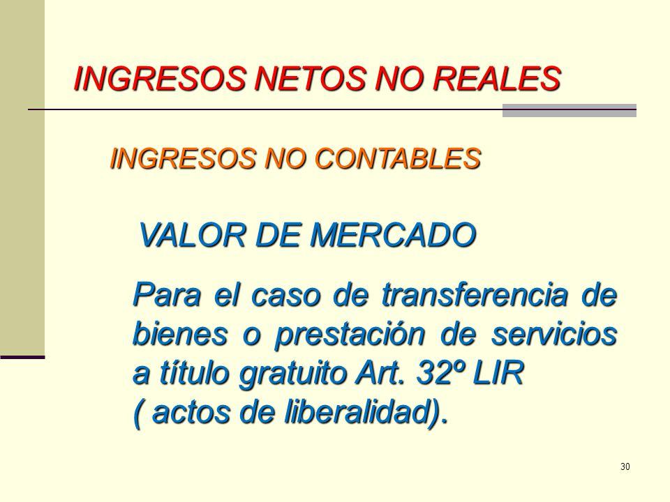 INGRESOS NETOS NO REALES INGRESOS NO CONTABLES INGRESOS NO CONTABLES VALOR DE MERCADO VALOR DE MERCADO Para el caso de transferencia de bienes o prest