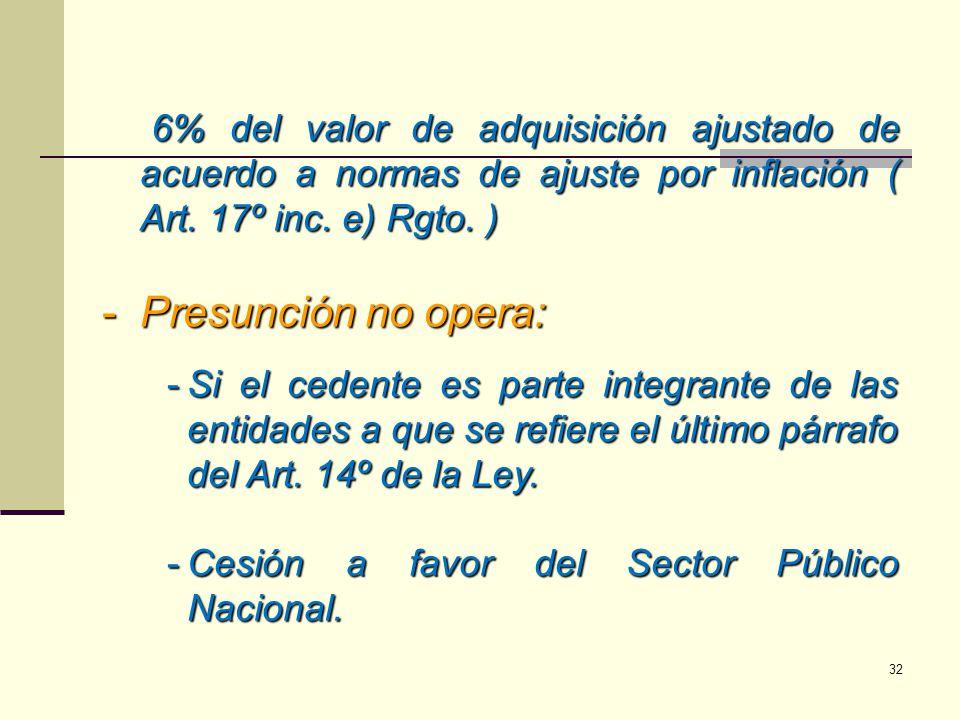 6% del valor de adquisición ajustado de acuerdo a normas de ajuste por inflación ( Art. 17º inc. e) Rgto. ) -Presunción no opera: -Si el cedente es pa