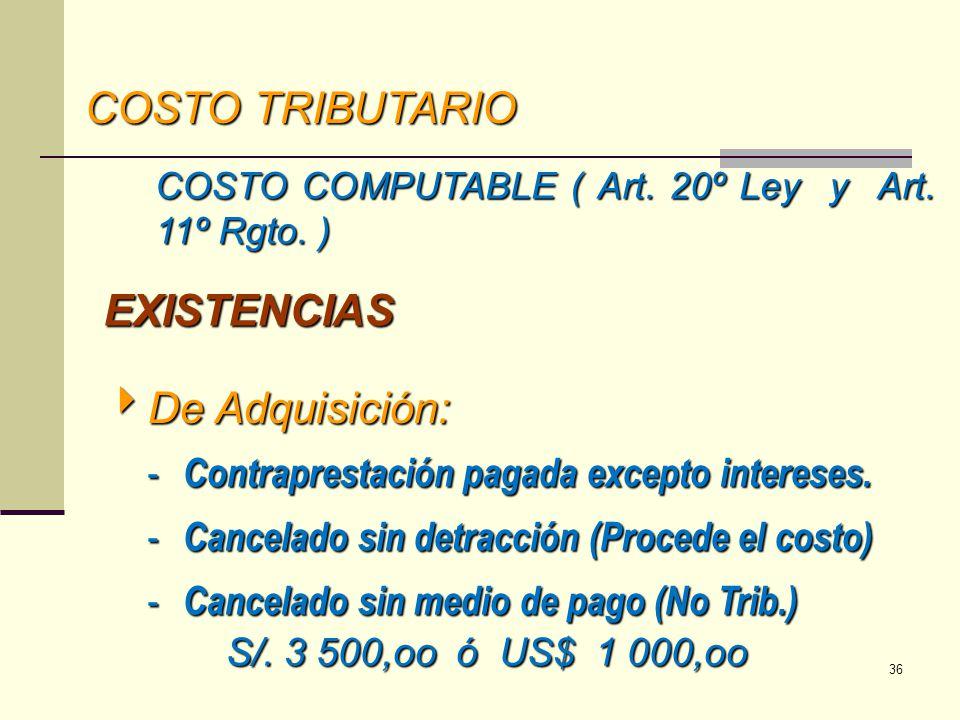 COSTO TRIBUTARIO COSTO COMPUTABLE ( Art. 20º Ley y Art. 11º Rgto. ) De Adquisición: De Adquisición: - Contraprestación pagada excepto intereses. - Can