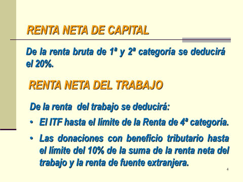 RENTA NETA DE CAPITAL De la renta bruta de 1ª y 2ª categoría se deducirá el 20%. RENTA NETA DEL TRABAJO De la renta del trabajo se deducirá: El ITF ha