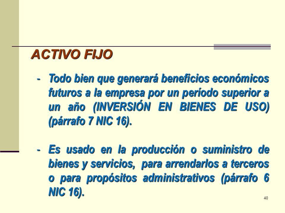 ACTIVO FIJO - Todo bien que generará beneficios económicos futuros a la empresa por un período superior a un año (INVERSIÓN EN BIENES DE USO) (párrafo