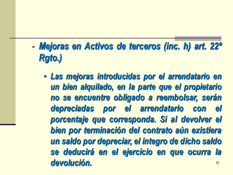 - Mejoras en Activos de terceros (inc. h) art. 22º Rgto.) Las mejoras introducidas por el arrendatario en un bien alquilado, en la parte que el propie