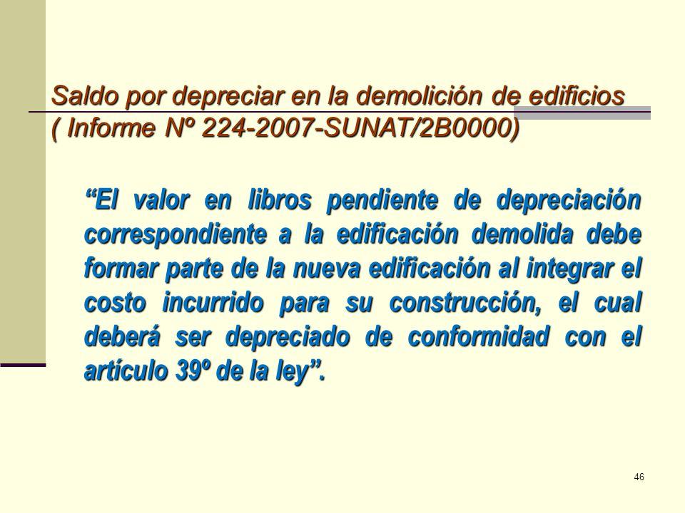 Saldo por depreciar en la demolición de edificios ( Informe Nº 224-2007-SUNAT/2B0000) El valor en libros pendiente de depreciación correspondiente a l