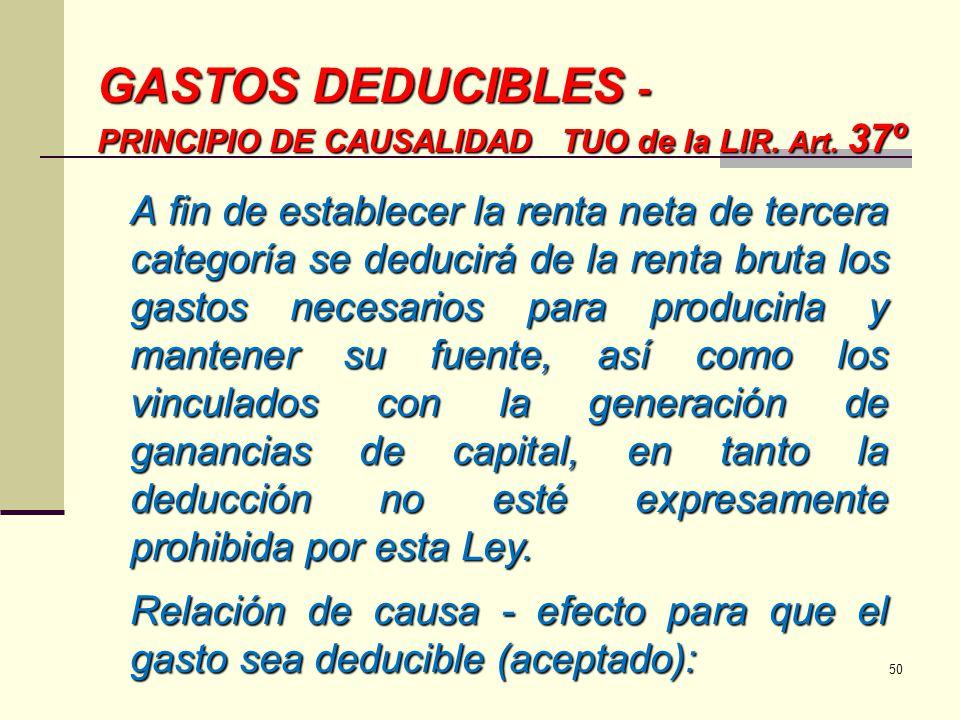 GASTOS DEDUCIBLES - PRINCIPIO DE CAUSALIDAD TUO de la LIR. Art. 37º A fin de establecer la renta neta de tercera categoría se deducirá de la renta bru