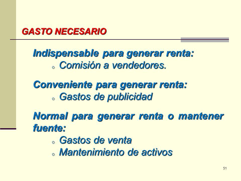 GASTO NECESARIO Indispensable para generar renta: o Comisión a vendedores. Conveniente para generar renta: o Gastos de publicidad Normal para generar
