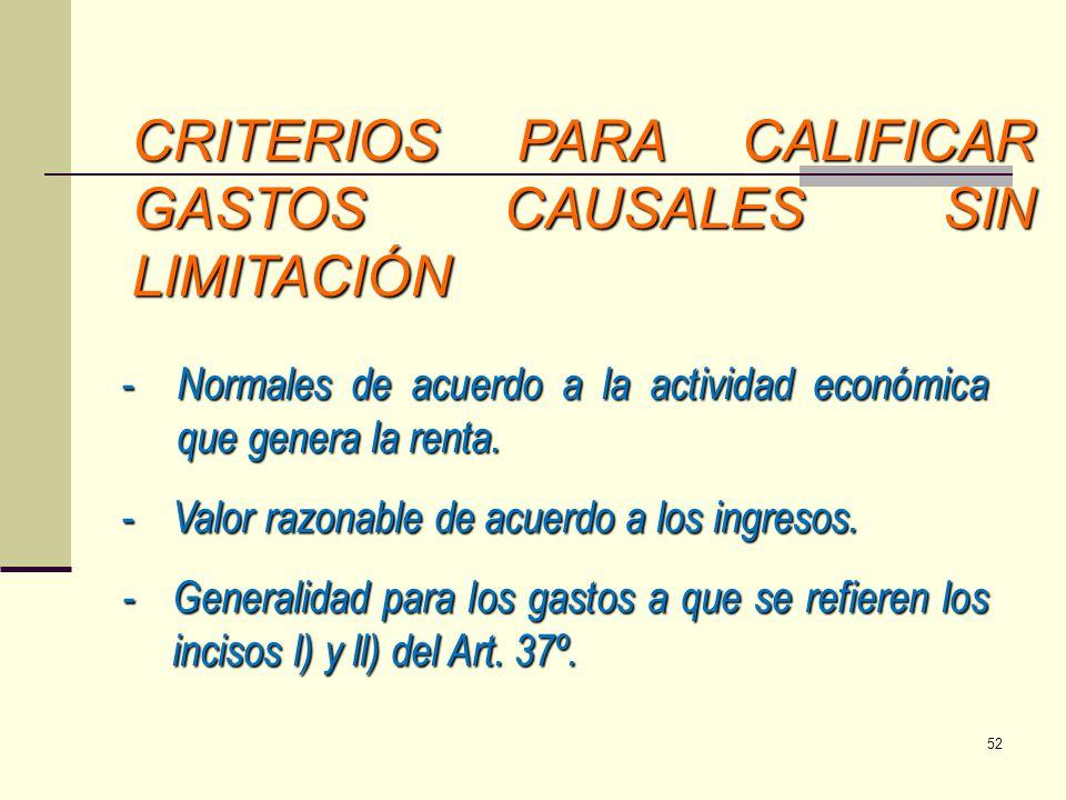 CRITERIOS PARA CALIFICAR GASTOS CAUSALES SIN LIMITACIÓN - Normales de acuerdo a la actividad económica que genera la renta. - Valor razonable de acuer