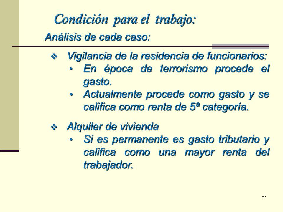Condición para el trabajo: Análisis de cada caso: Vigilancia de la residencia de funcionarios: Vigilancia de la residencia de funcionarios: En época d