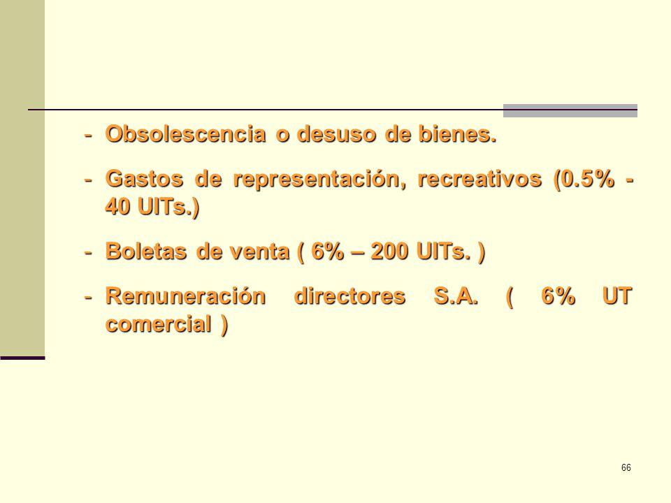 -Obsolescencia o desuso de bienes. -Gastos de representación, recreativos (0.5% - 40 UITs.) -Boletas de venta ( 6% – 200 UITs. ) -Remuneración directo