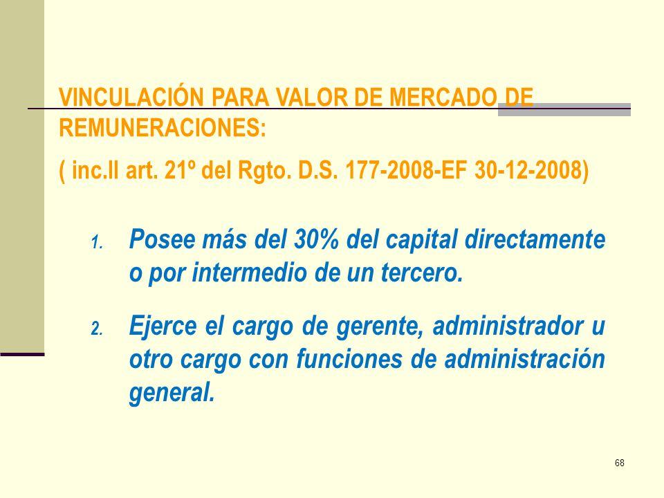 VINCULACIÓN PARA VALOR DE MERCADO DE REMUNERACIONES: ( inc.ll art. 21º del Rgto. D.S. 177-2008-EF 30-12-2008) 1. Posee más del 30% del capital directa
