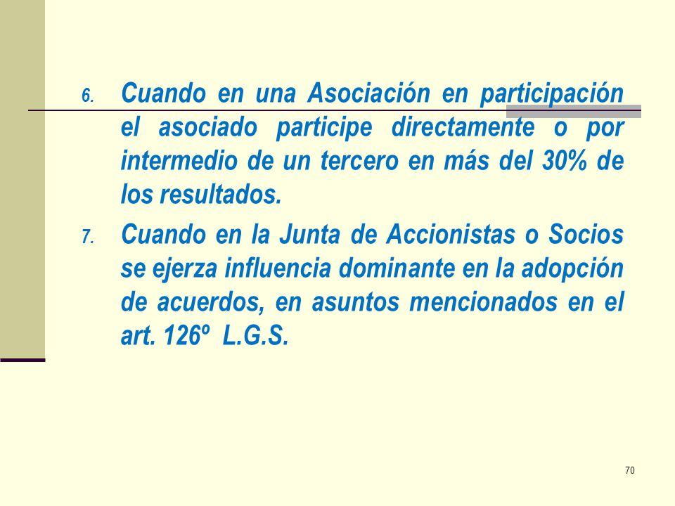6. Cuando en una Asociación en participación el asociado participe directamente o por intermedio de un tercero en más del 30% de los resultados. 7. Cu