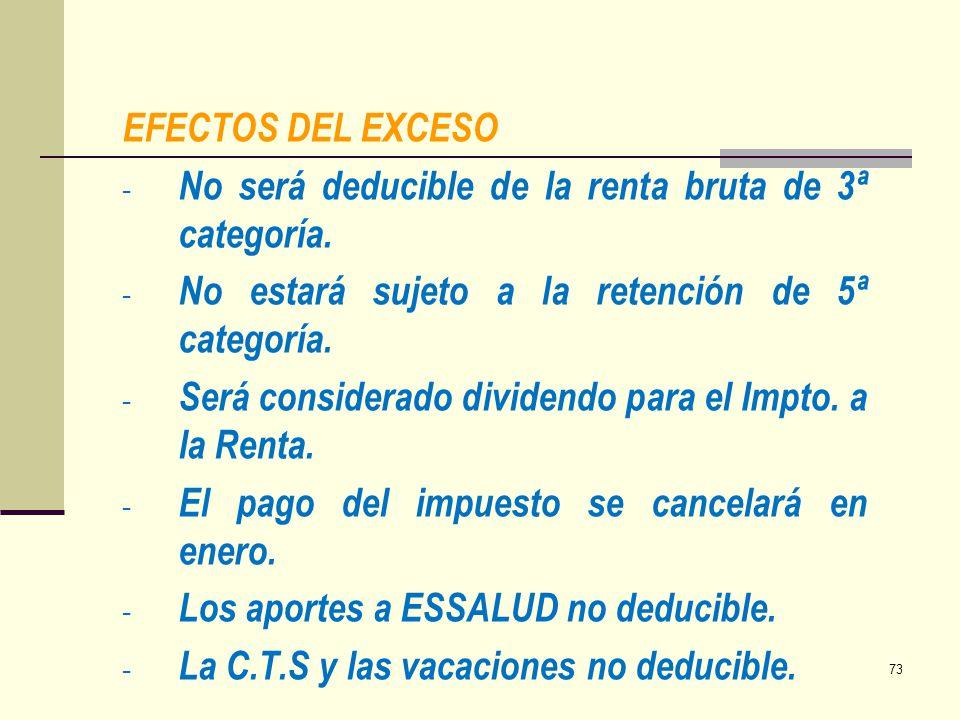 EFECTOS DEL EXCESO - No será deducible de la renta bruta de 3ª categoría. - No estará sujeto a la retención de 5ª categoría. - Será considerado divide
