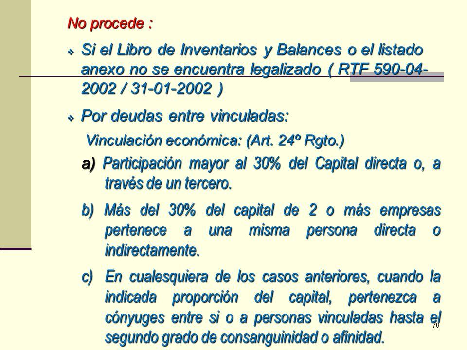 a) Participación mayor al 30% del Capital directa o, a través de un tercero. b) Más del 30% del capital de 2 o más empresas pertenece a una misma pers