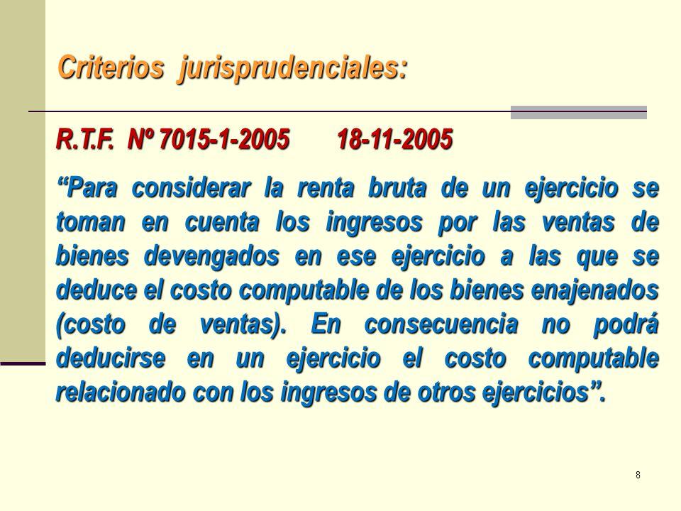 Criterios jurisprudenciales: R.T.F. Nº 7015-1-2005 18-11-2005 Para considerar la renta bruta de un ejercicio se toman en cuenta los ingresos por las v